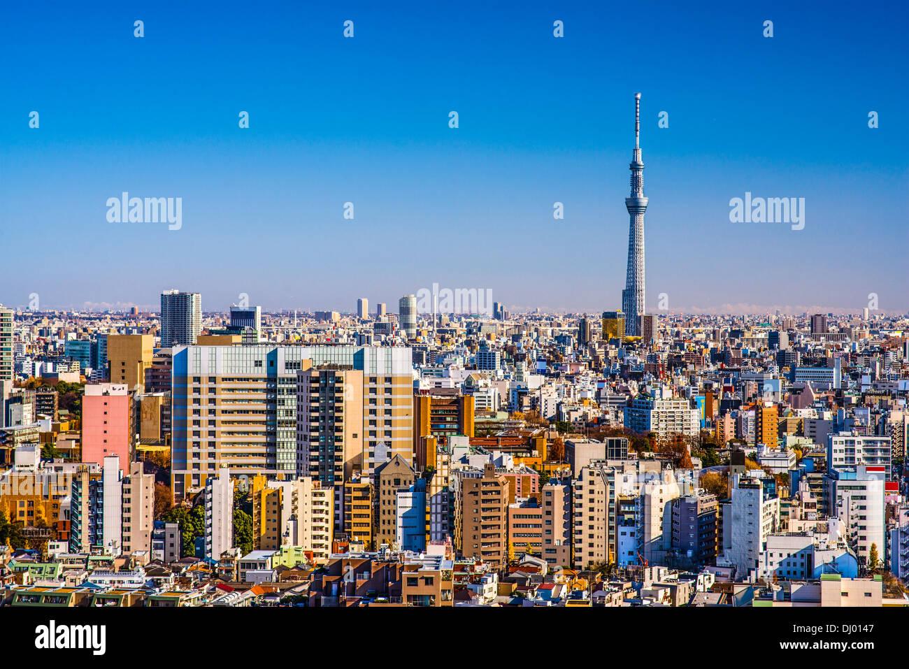 Tokyo, Giappone nel pomeriggio con lo skyline di Tokyo Sky Tree. Immagini Stock
