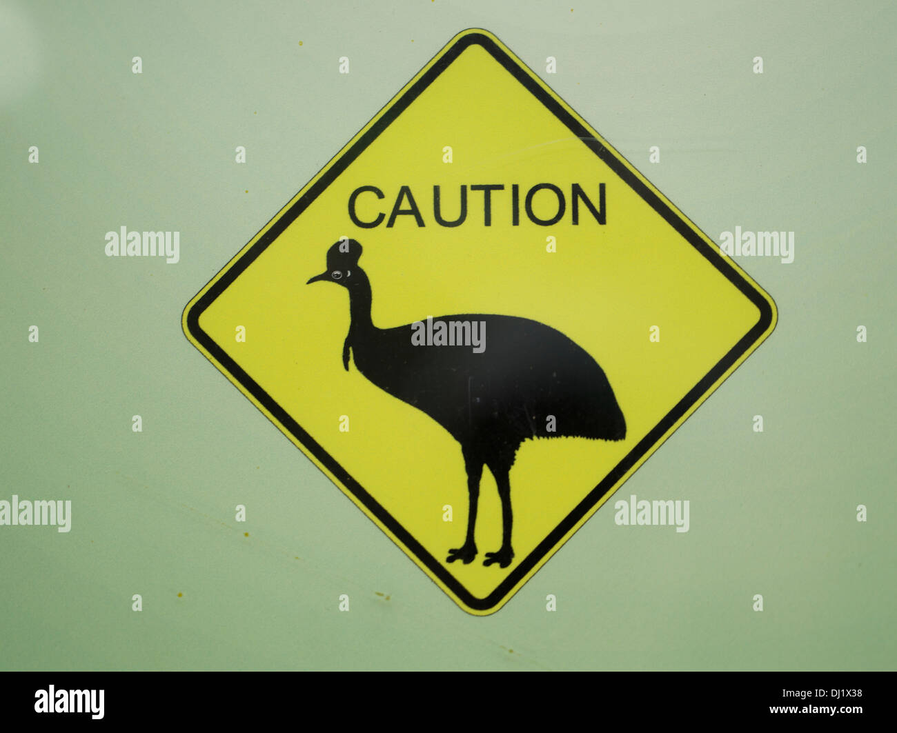 Attenzione casuari segno, Kuranda, Australia Immagini Stock