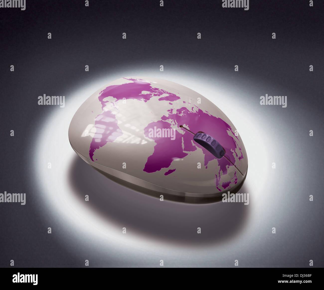 Immagine illustrativa del mouse con globo che rappresenta la globalizzazione Immagini Stock