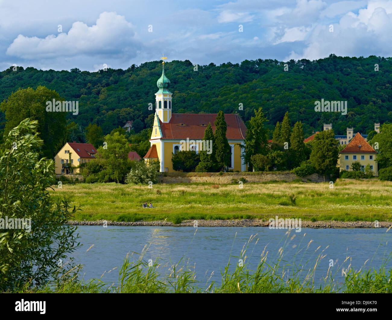 Chiesa Maria sull'acqua, Hosterwitz, Dresda, Sassonia, Germania Immagini Stock