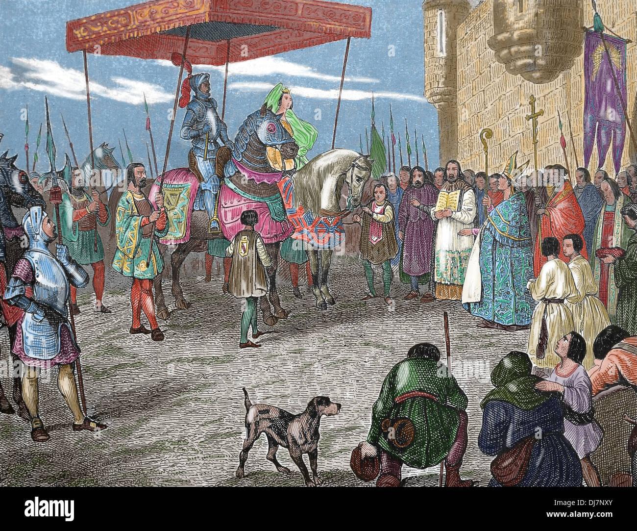La storia. Medioevo. Vassallo rende omaggio al loro signore di Liegi. Incisione. (Colorazione successiva) Immagini Stock