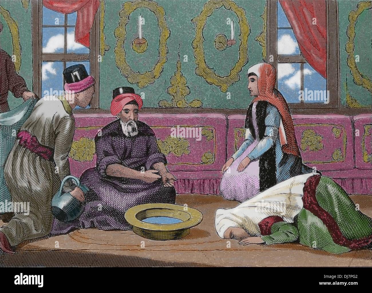 Lettore e abluzione dei Mahomedans. Incisione. (Dopo colorazione). Immagini Stock