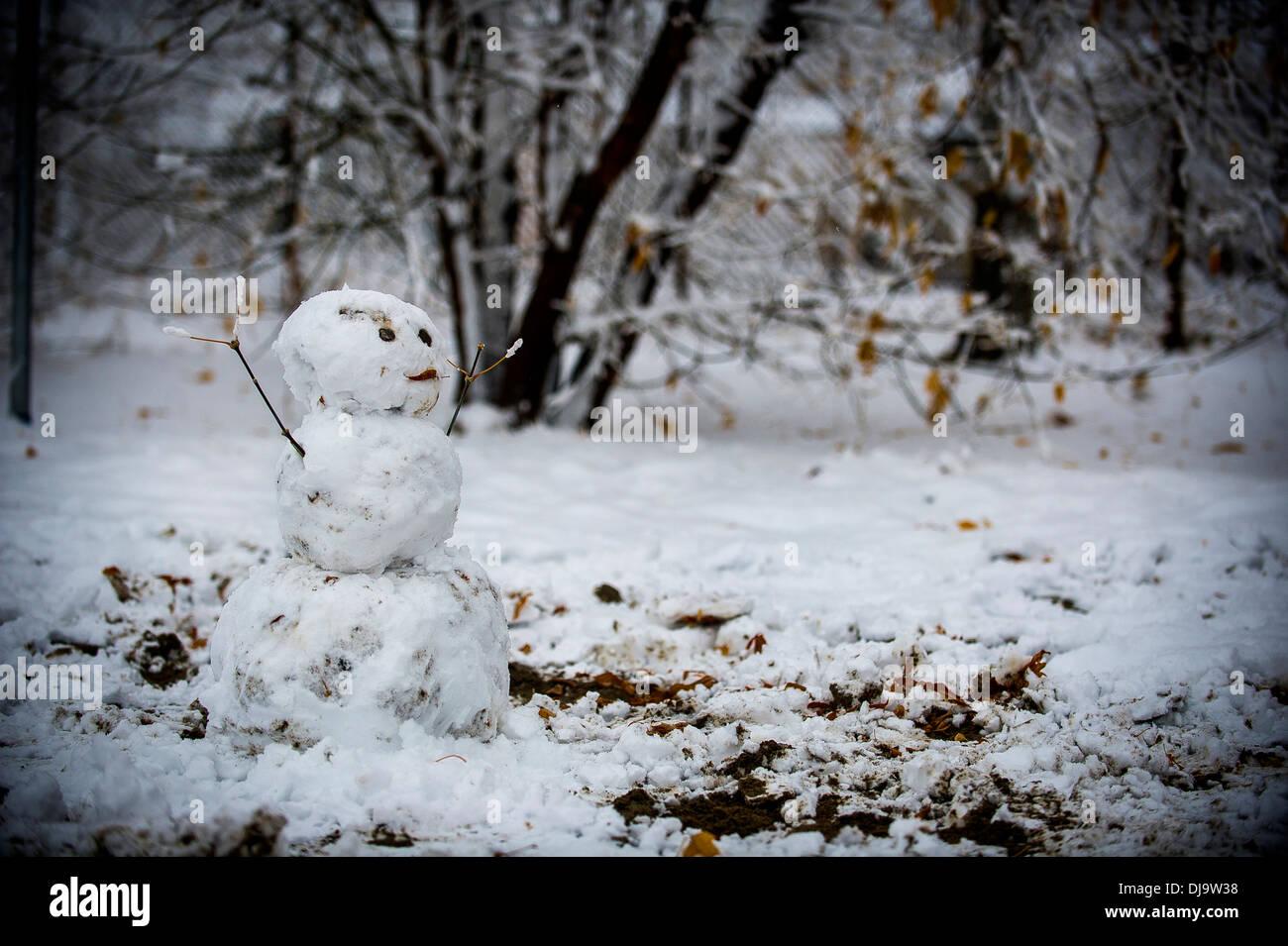 Un pupazzo di neve si trova al di fuori della 728th Manutenzione aeromobili squadrone, nov. 20, 2013, al Centro di Transito di Manas, Kirghizistan. Ha nevicato tre pollici e era la più pesante nevicata finora al centro di transito. Immagini Stock