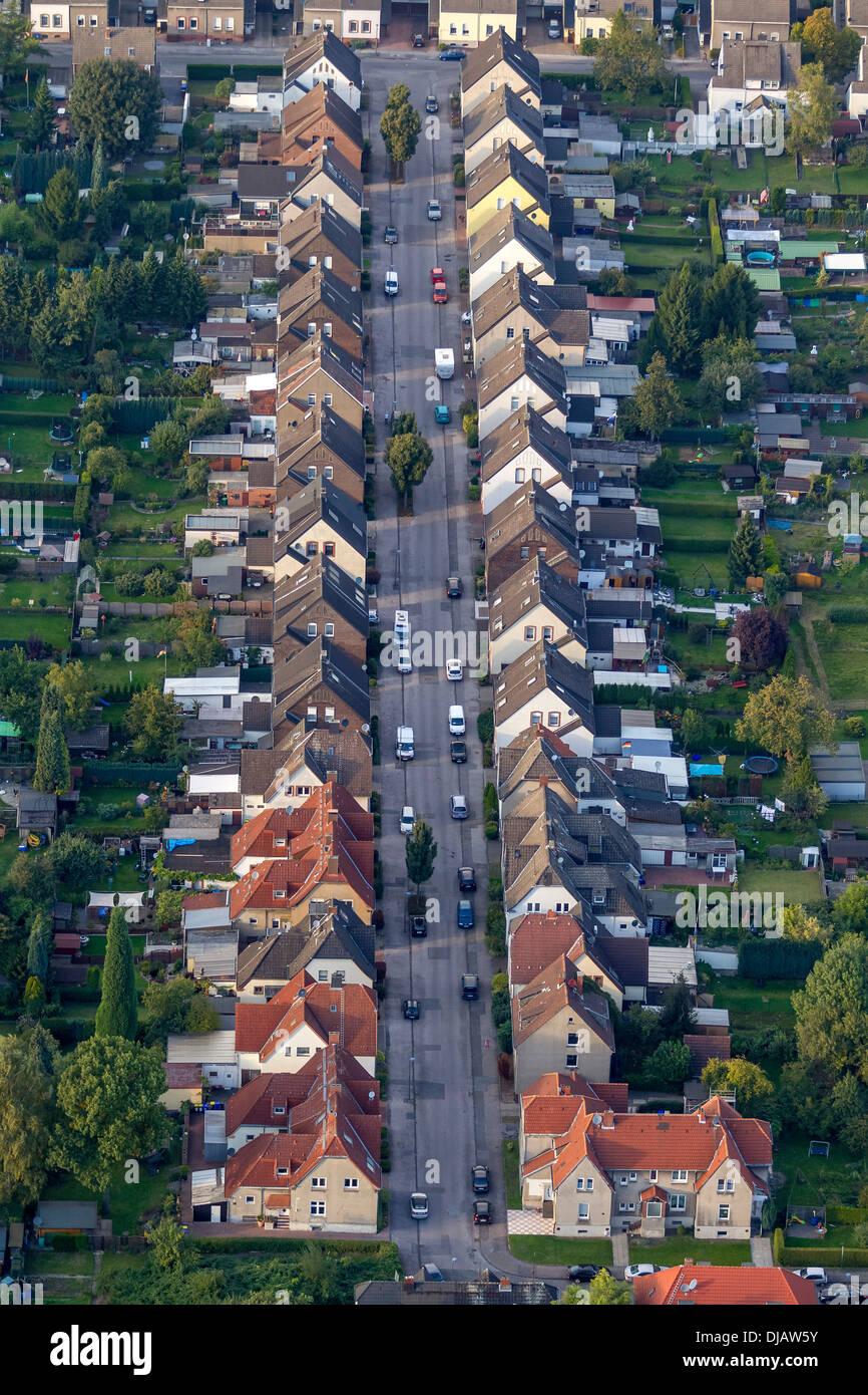 Vista aerea, insediamento dei minatori, case a schiera, Rentfort, Gladbeck, Nord Reno-Westfalia, Germania Immagini Stock
