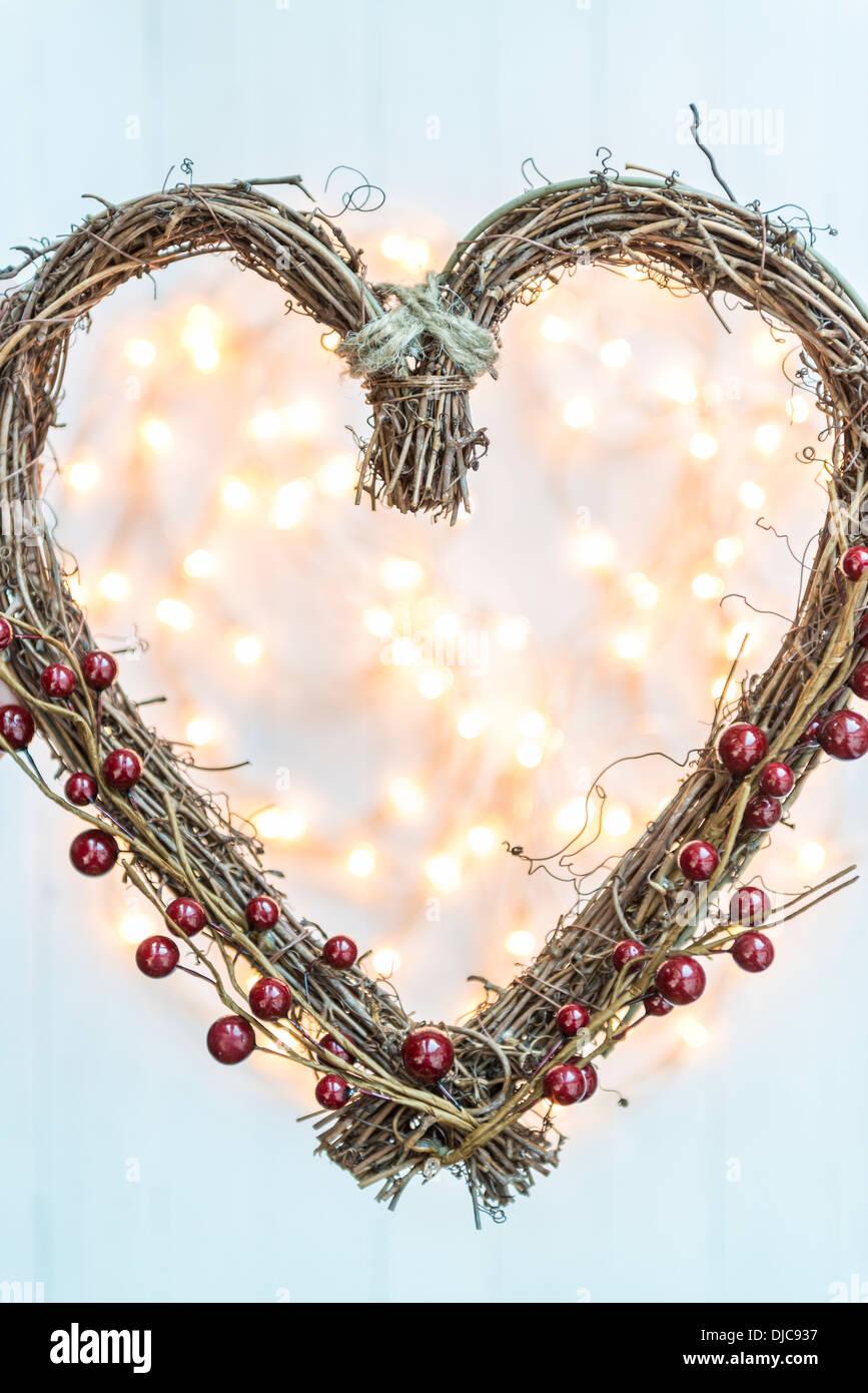 A forma di cuore decorazioni di Natale Immagini Stock