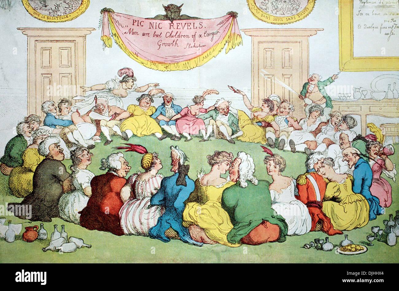 Chiassosa party in Inghilterra intorno al 1800, colorato di incisione su rame di Thomas Rowlandson Immagini Stock
