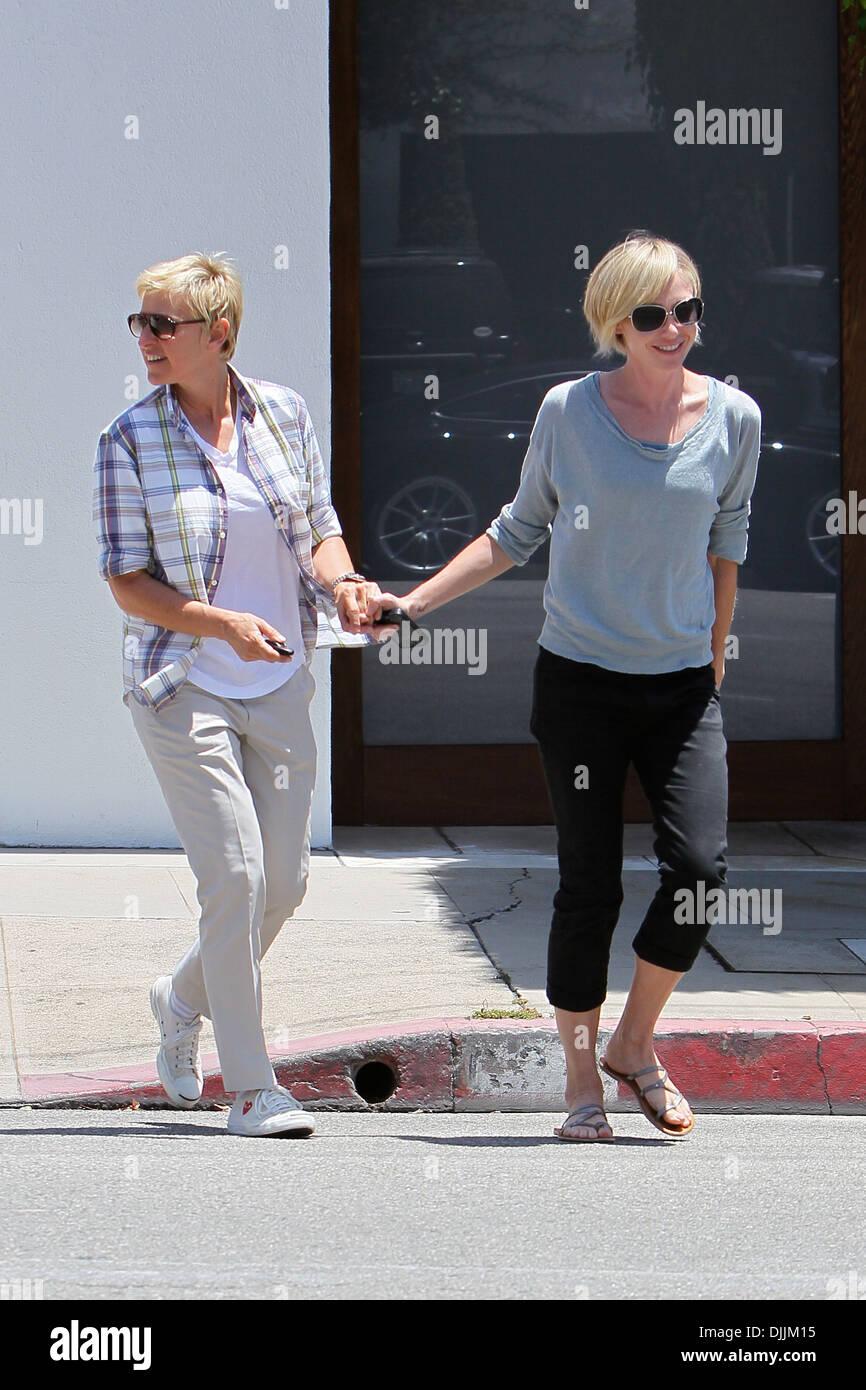 Ellen Degeneres e moglie Portia de Rossi visto lasciare un negozio ...