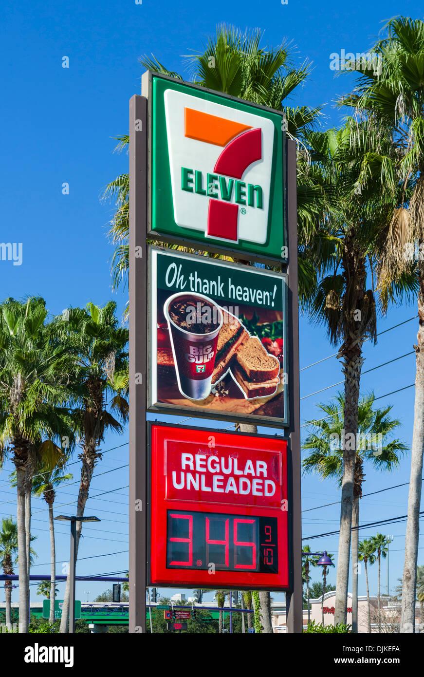 7-Eleven gas station e minimarket, Central Florida, Stati Uniti d'America Immagini Stock