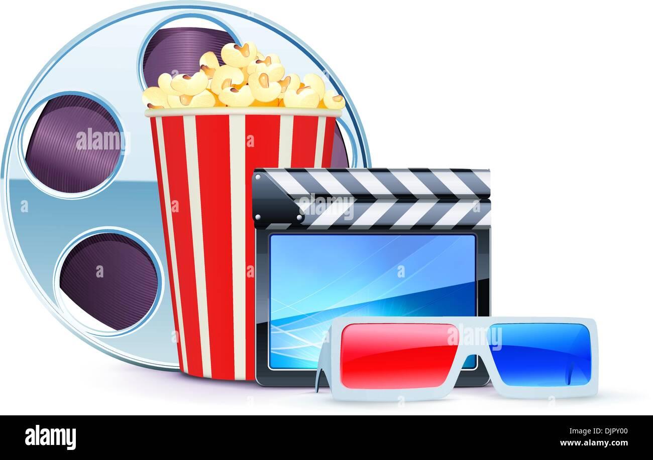 Prezzo del 50% codice promozionale il più votato a buon mercato Illustrazione Vettoriale di sfondo del cinema con gli ...