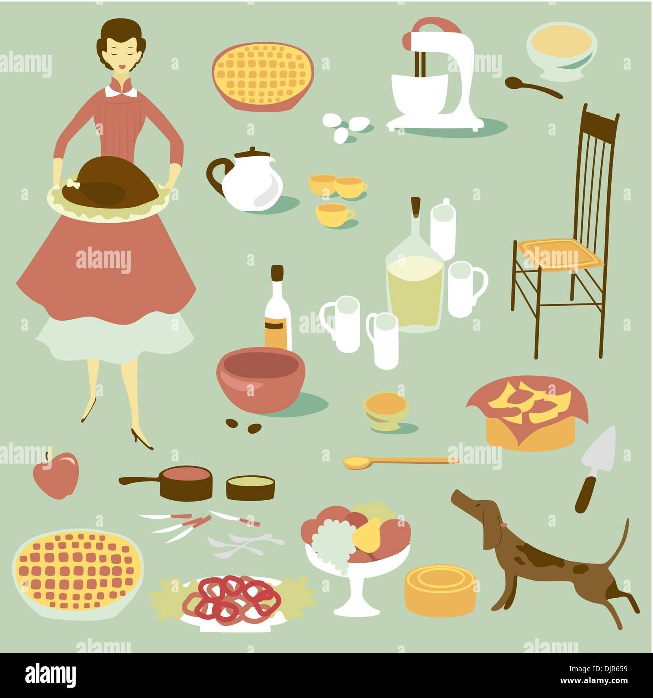 Diva interno e di un set di attrezzature da cucina e cibo Immagini Stock