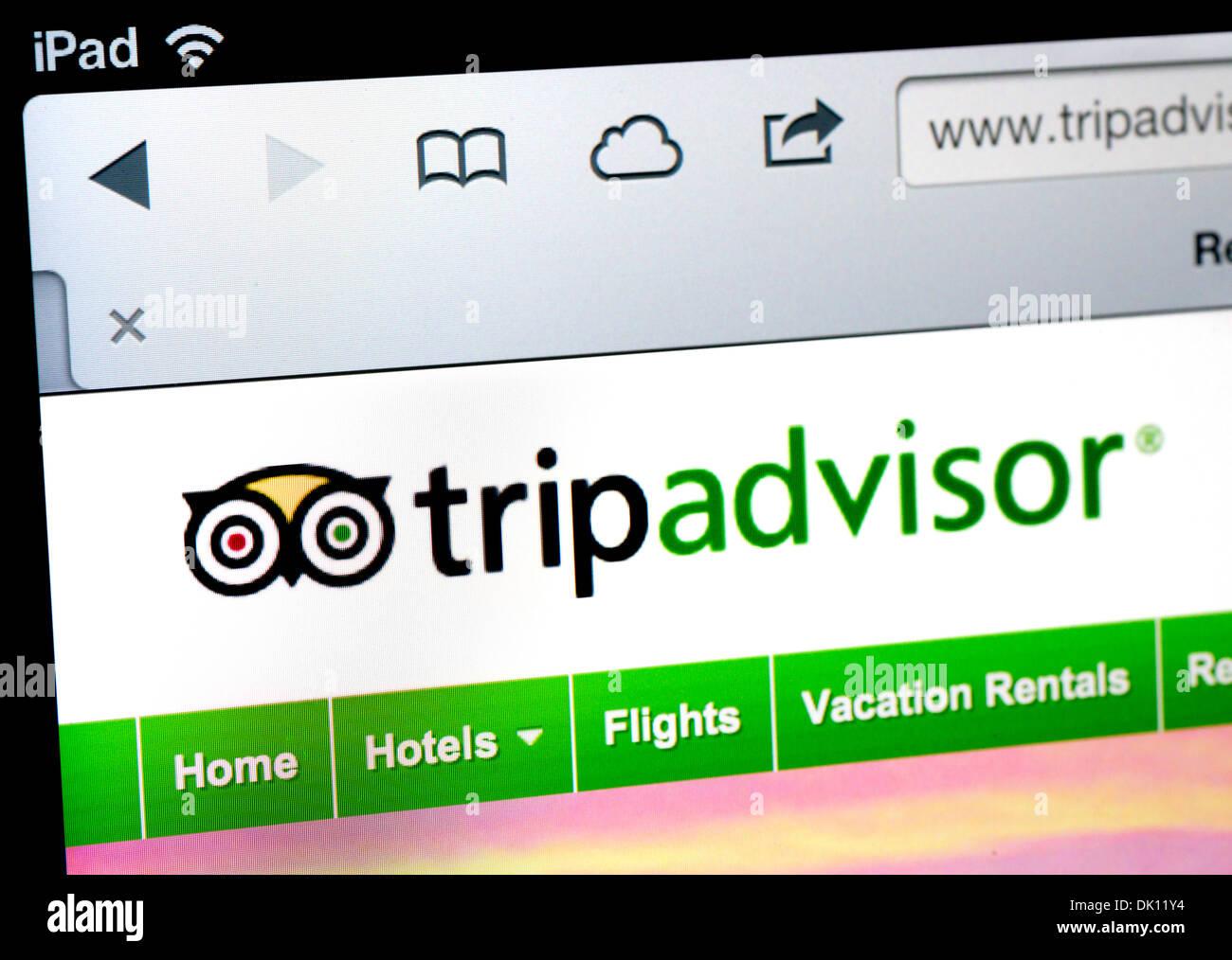 TripAdvisor.com sito su un iPad Immagini Stock