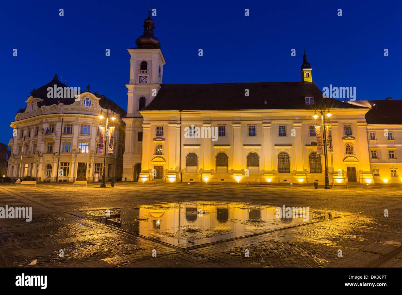 Piazza principale, Sibiu Romania Immagini Stock
