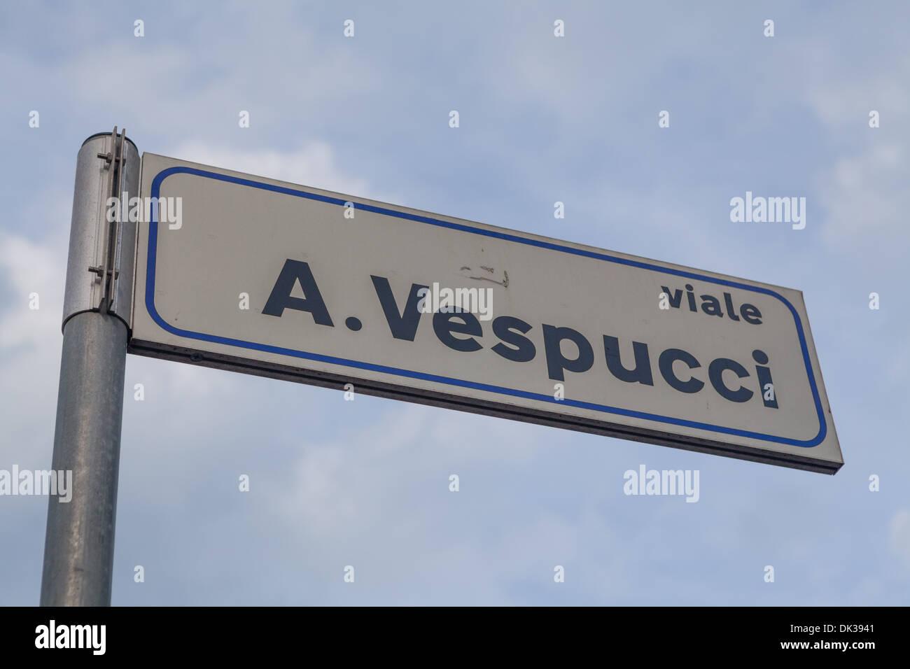 Guide-post a Rimini, Italia Immagini Stock