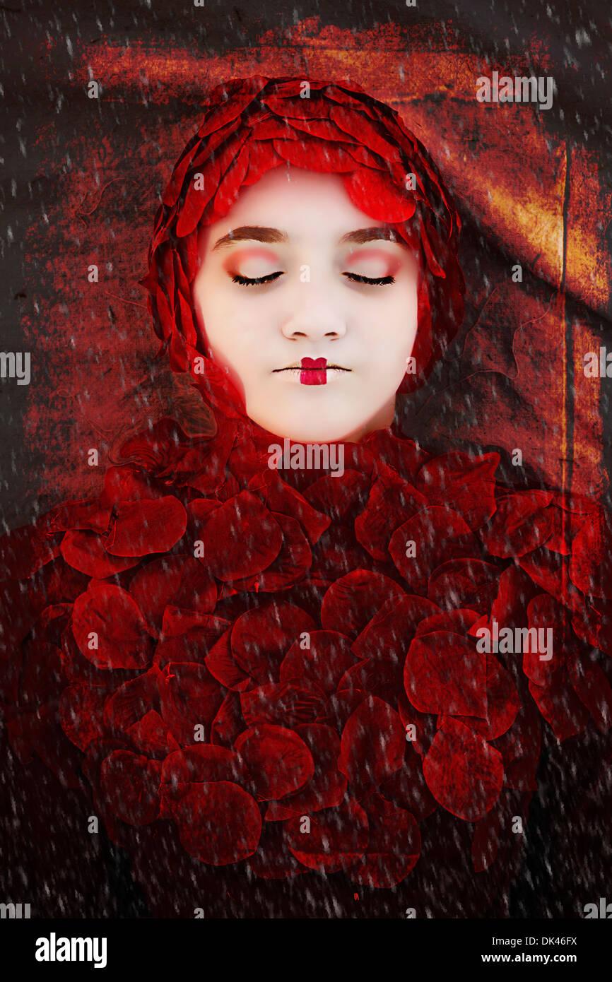 Ragazza vestita in rosso i pedali di Rose Immagini Stock