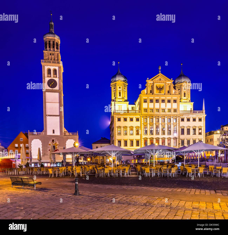 Augsburg, Germania townscape a Rathausplatz. Immagini Stock
