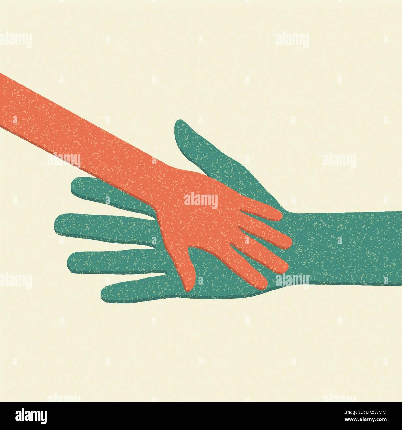 Aiutando le mani. Cura per adulti circa il bambino. Illustrazione Vettoriale. Immagini Stock