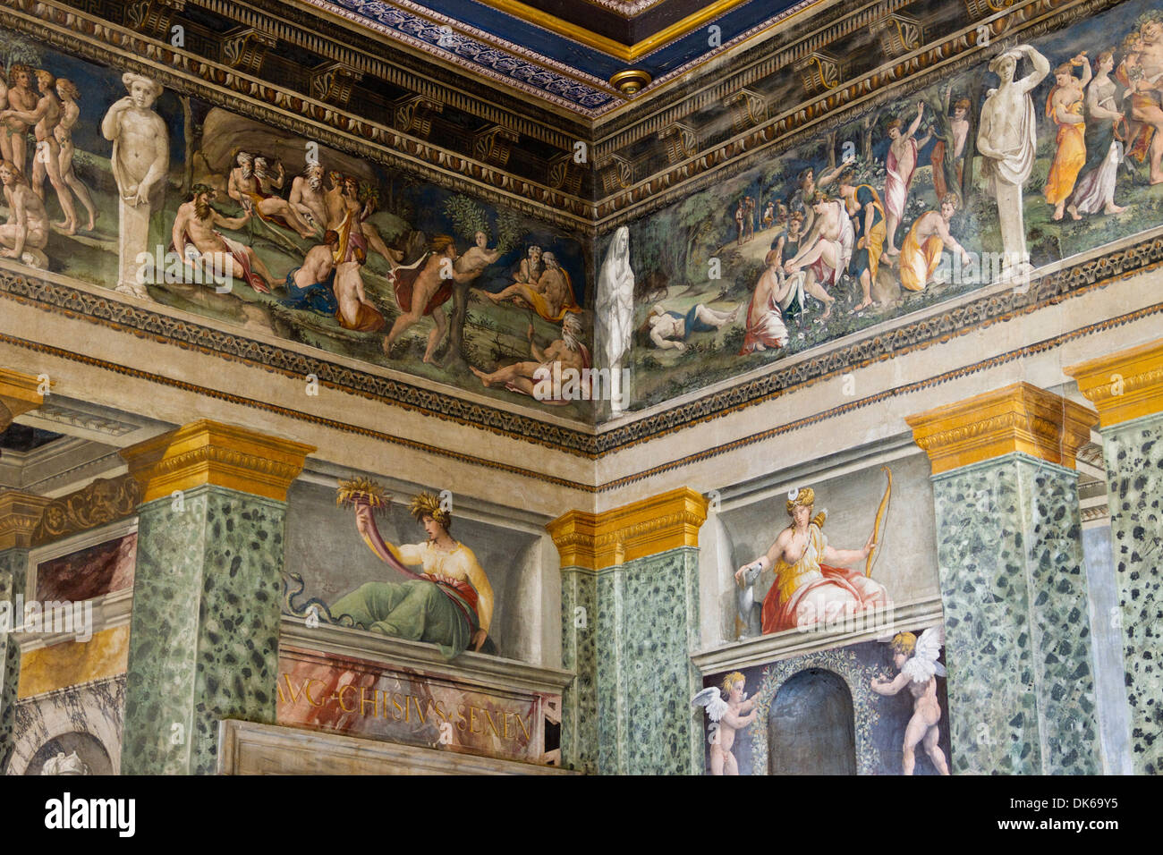 Loggia di Psiche (la leggia di amore e psiche) nella Villa Farnesina, Roma, lazio, Italy. Immagini Stock