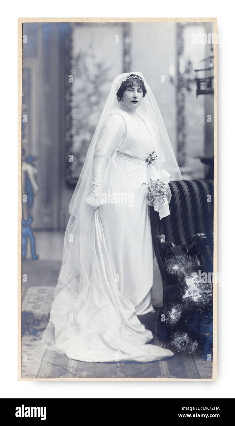 Abiti Da Sposa 1900.Antico Ritratto Di Una Dama Studio Fotografico Vintage 1900