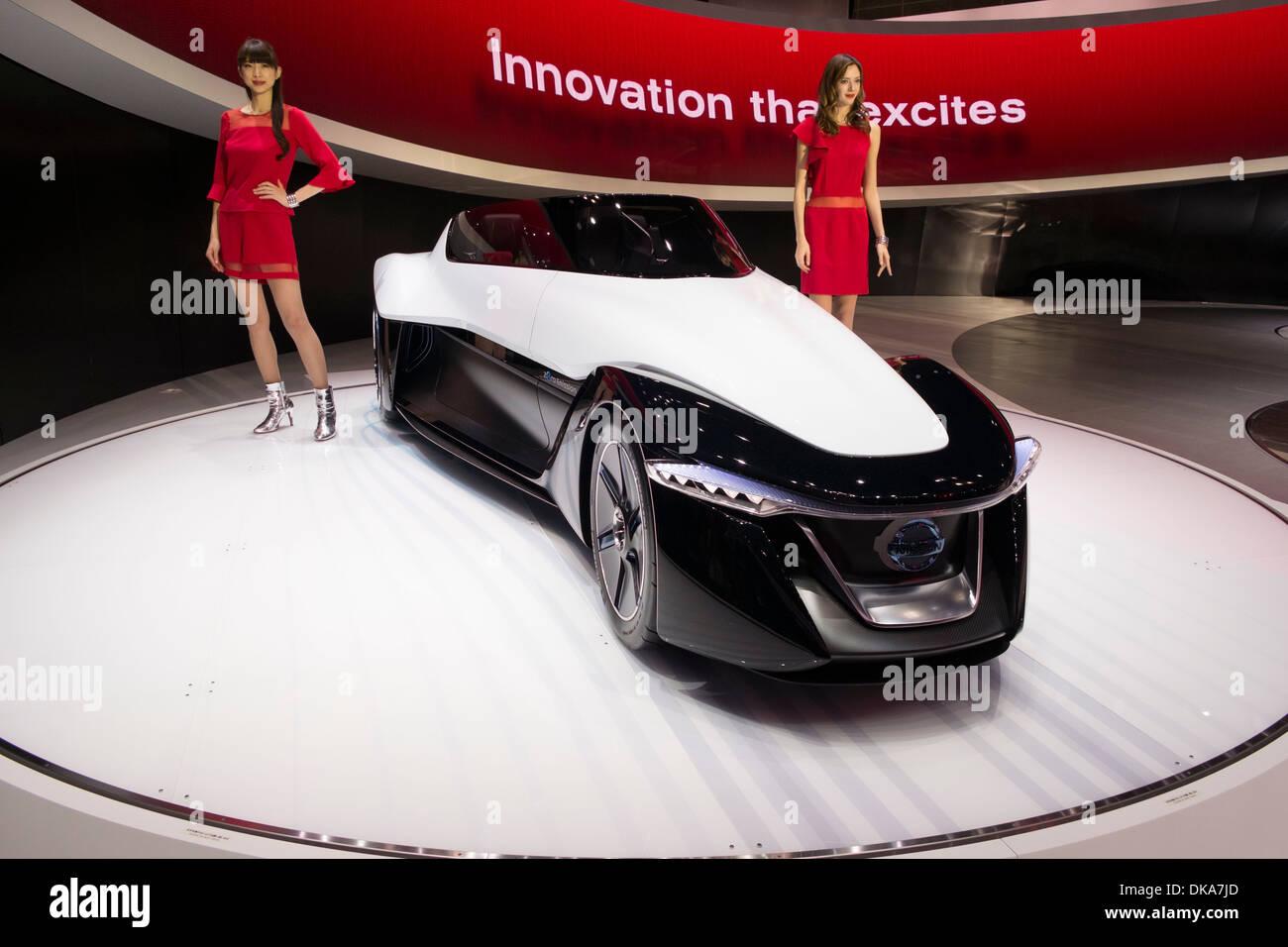 Nissan Bladeglider concept car elettrica al Motor Show di Tokyo 2013 in Giappone Immagini Stock