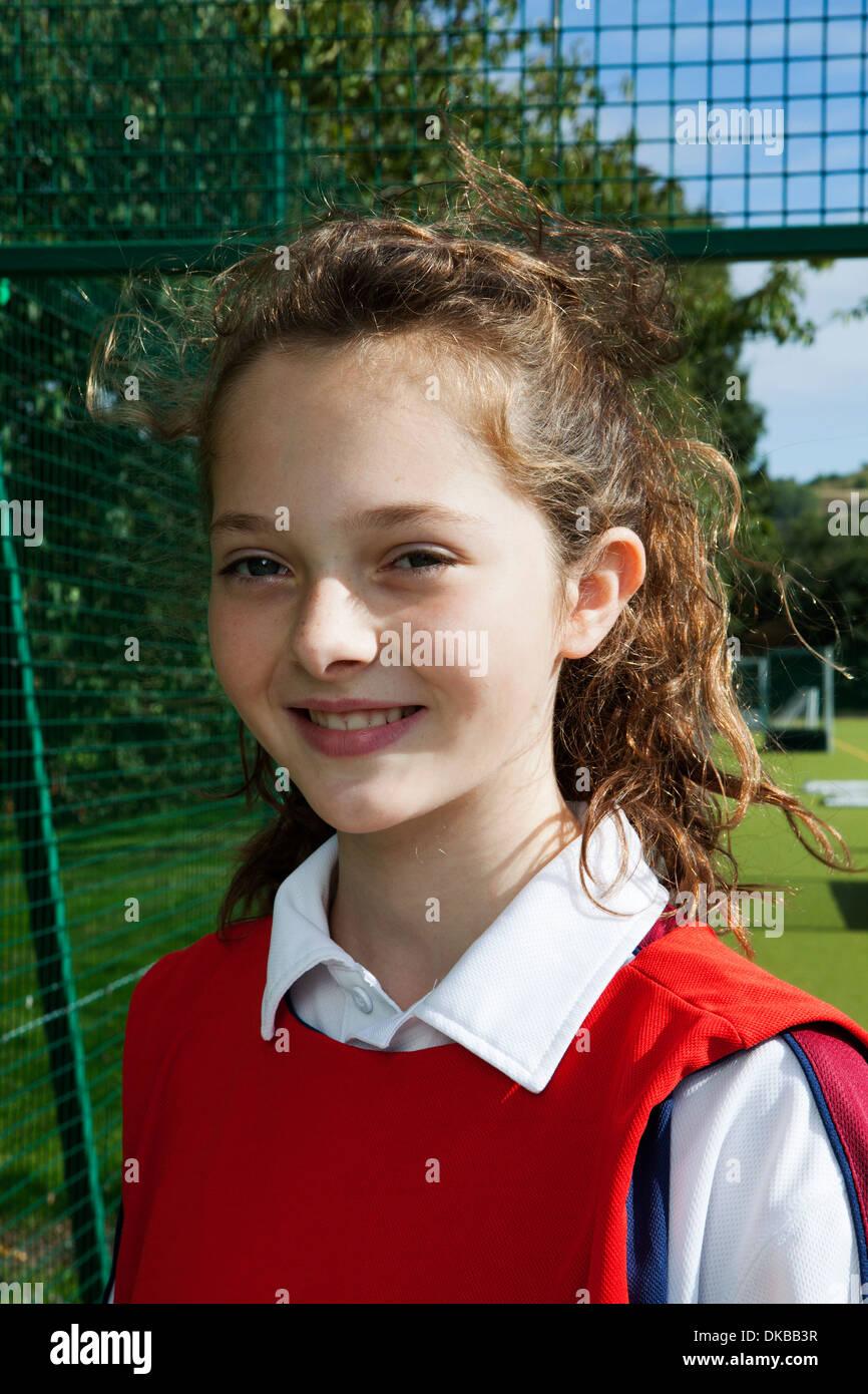 Ritratto di schoolgirl netball player Immagini Stock
