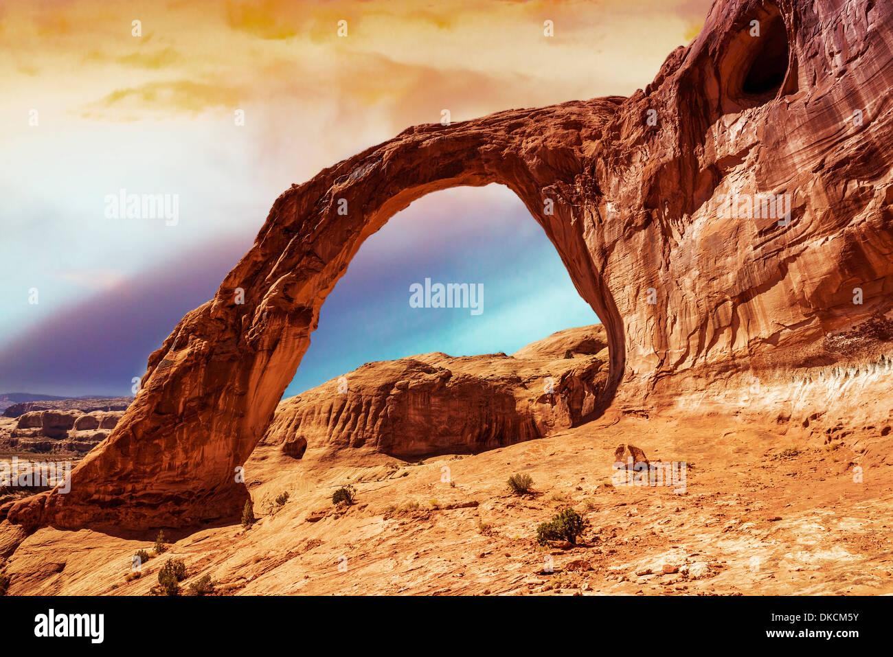 Arco di corona (Tramonto) Moab Utah. Immagini Stock