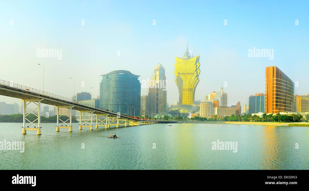 Vista panoramica del centro cittadino di Macau Immagini Stock