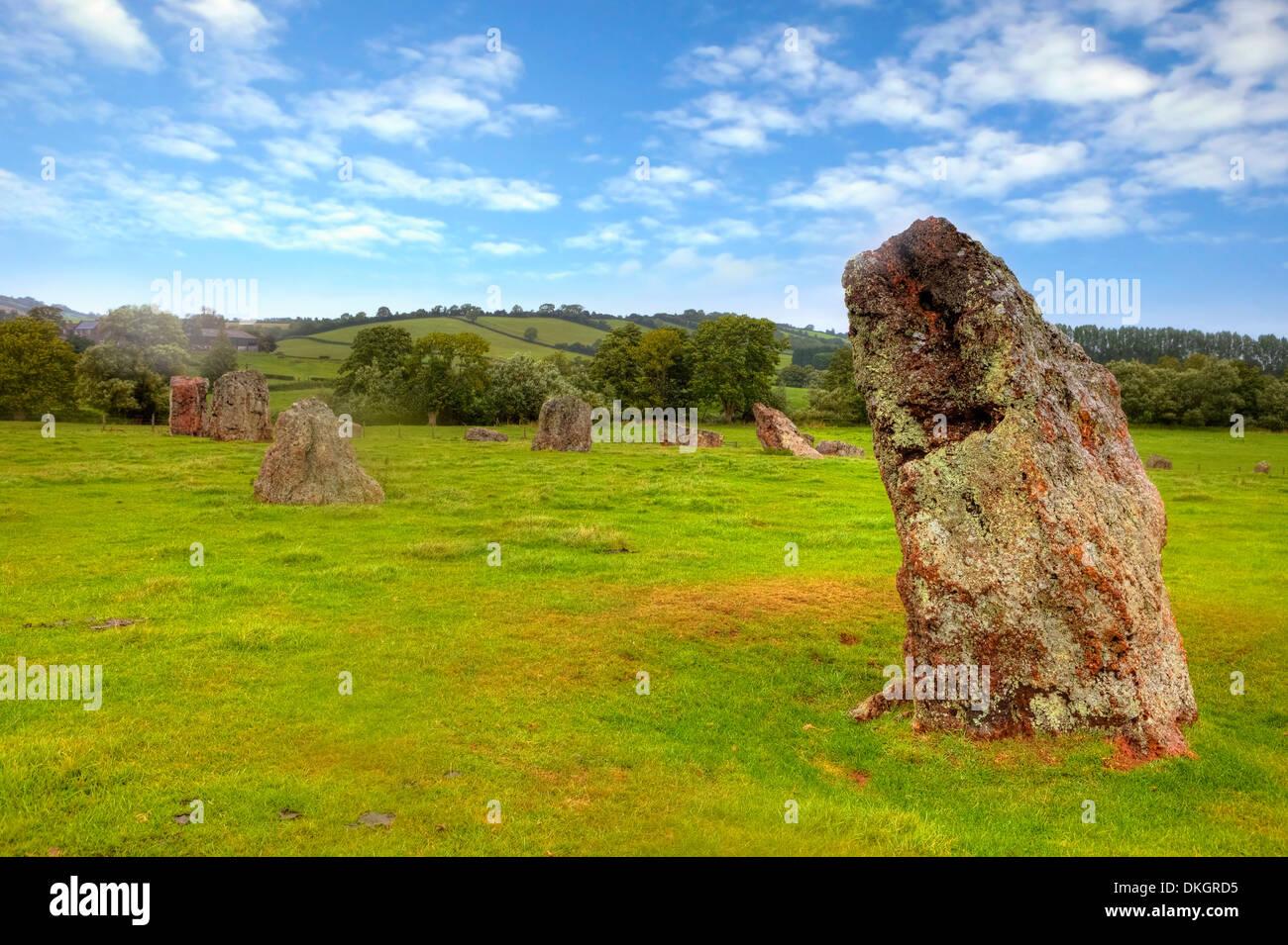 Cerchi di pietre, Stanton Drew, Somerset, Inghilterra, Regno Unito Immagini Stock