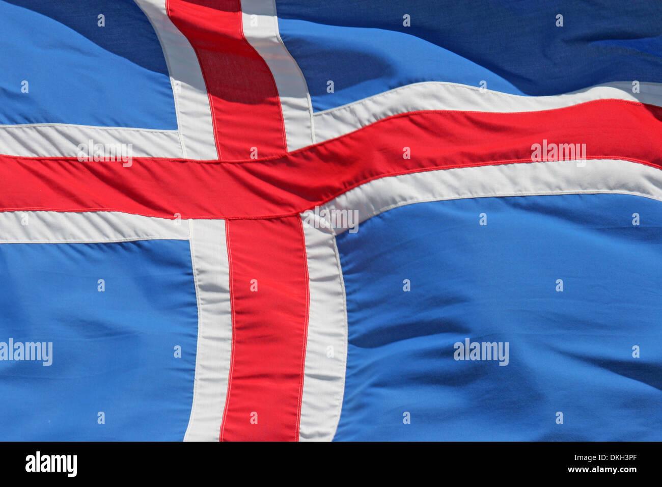 Close Up Della Bandiera Nazionale Dellislanda In Scandinavia