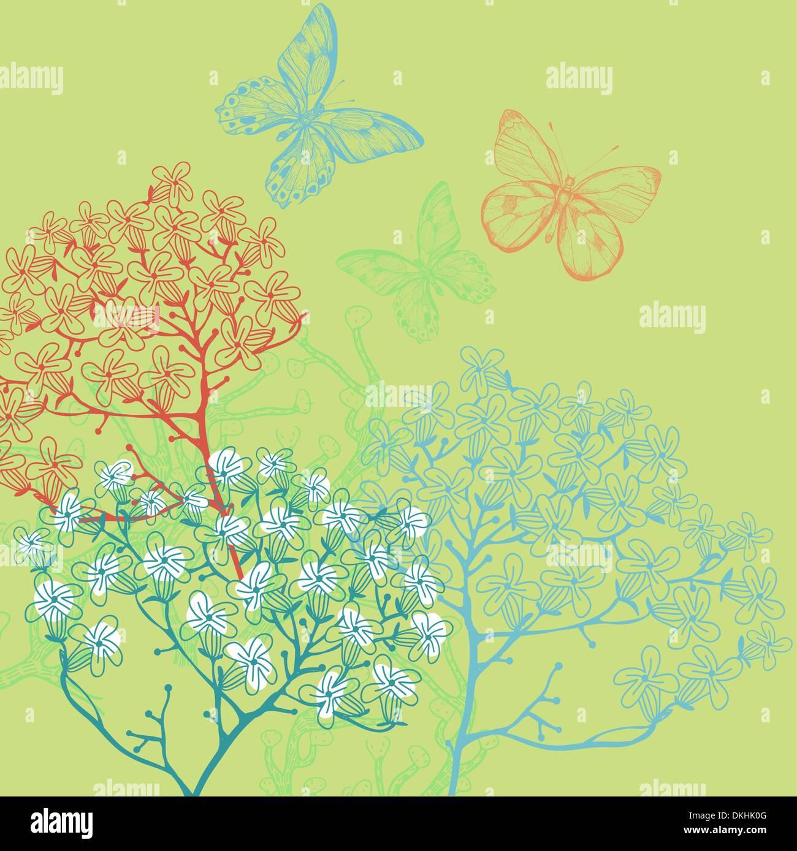 Illustrazione vettoriale di piante in fiore su uno sfondo verde Immagini Stock