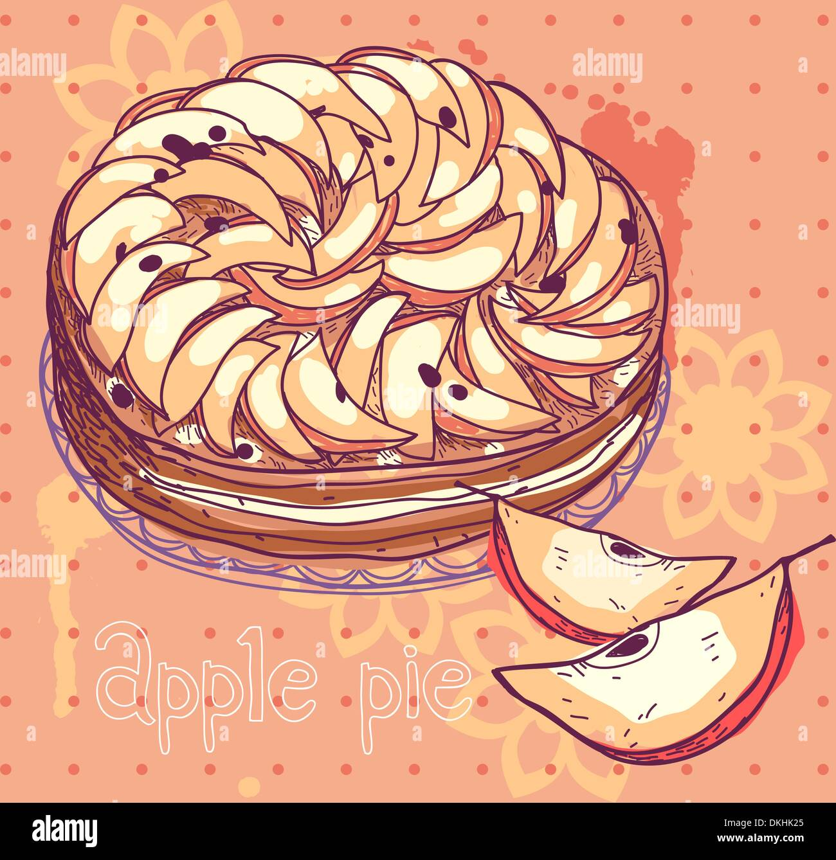 Illustrazione vettoriale di una fetta di torta di mele Immagini Stock