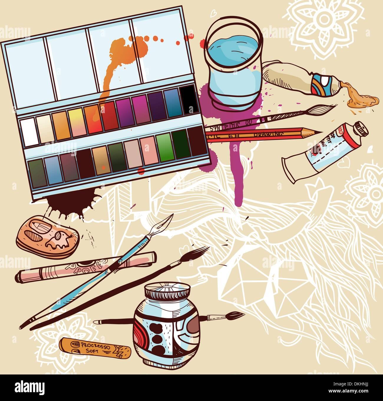 Illustrazione vettoriale di strumenti artistici Immagini Stock