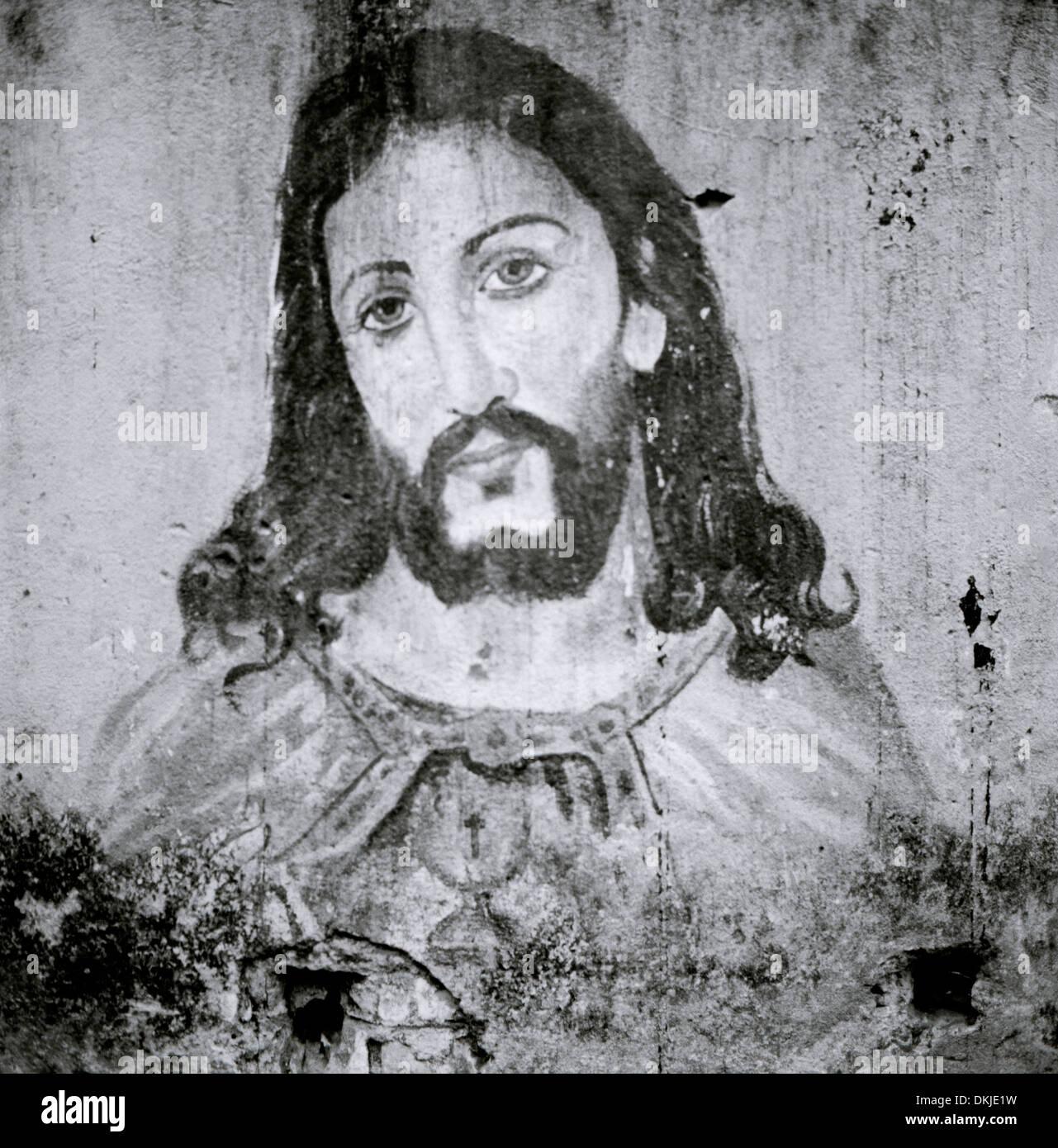 Gesù Cristo nelle baraccopoli in Chennai Madras Tamil Nadu, nell India orientale Asia del Sud. Graffiti Ghetto cristiana religione Arte Religiosa Travel Immagini Stock