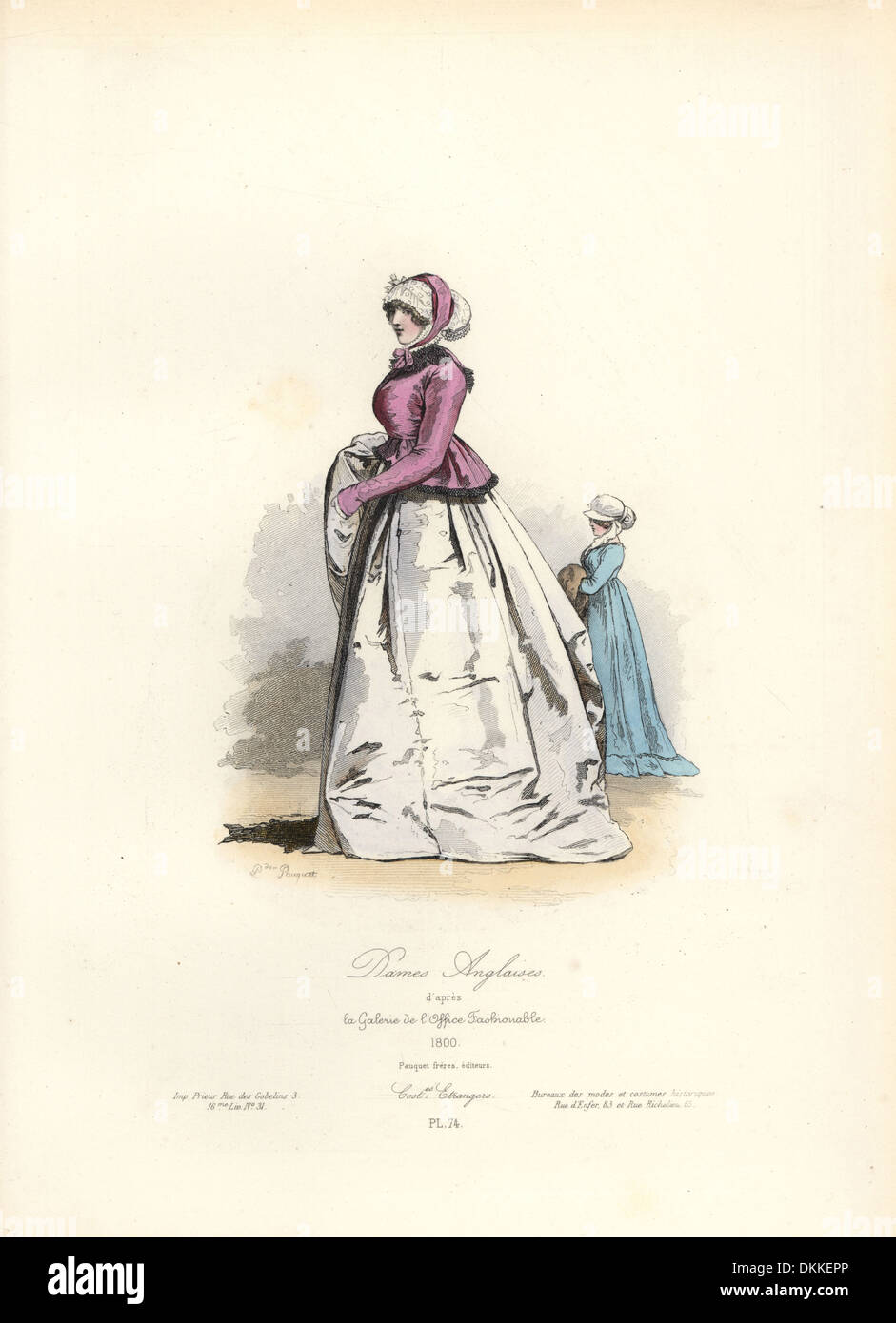 Inglese donne, 1800 dalla Galerie de l'office di moda. Foto Stock