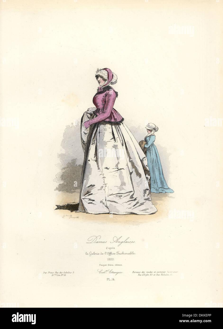Inglese donne, 1800 dalla Galerie de l'office di moda. Immagini Stock