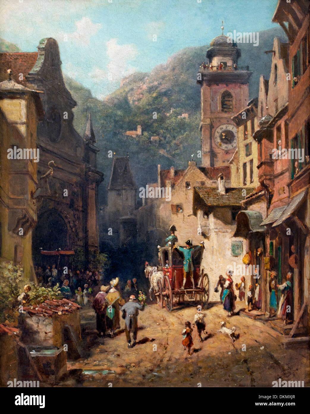 La visita del principe locale 1870 Carl Spitzweg 1808-1885 il tedesco in Germania Immagini Stock
