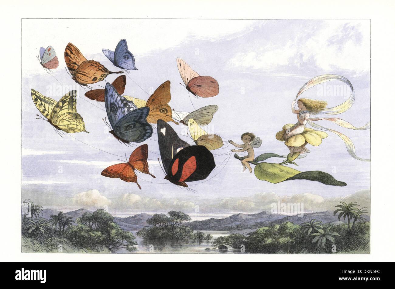 Il fairy queen prende un drive in una carrozza trainata da farfalle. Immagini Stock