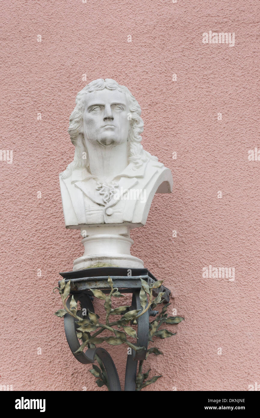 Busto che mostra il tedesco scrittore e drammaturgo Friedrich Schiller, marbach, BADEN-WUERTTEMBERG, Germania Immagini Stock
