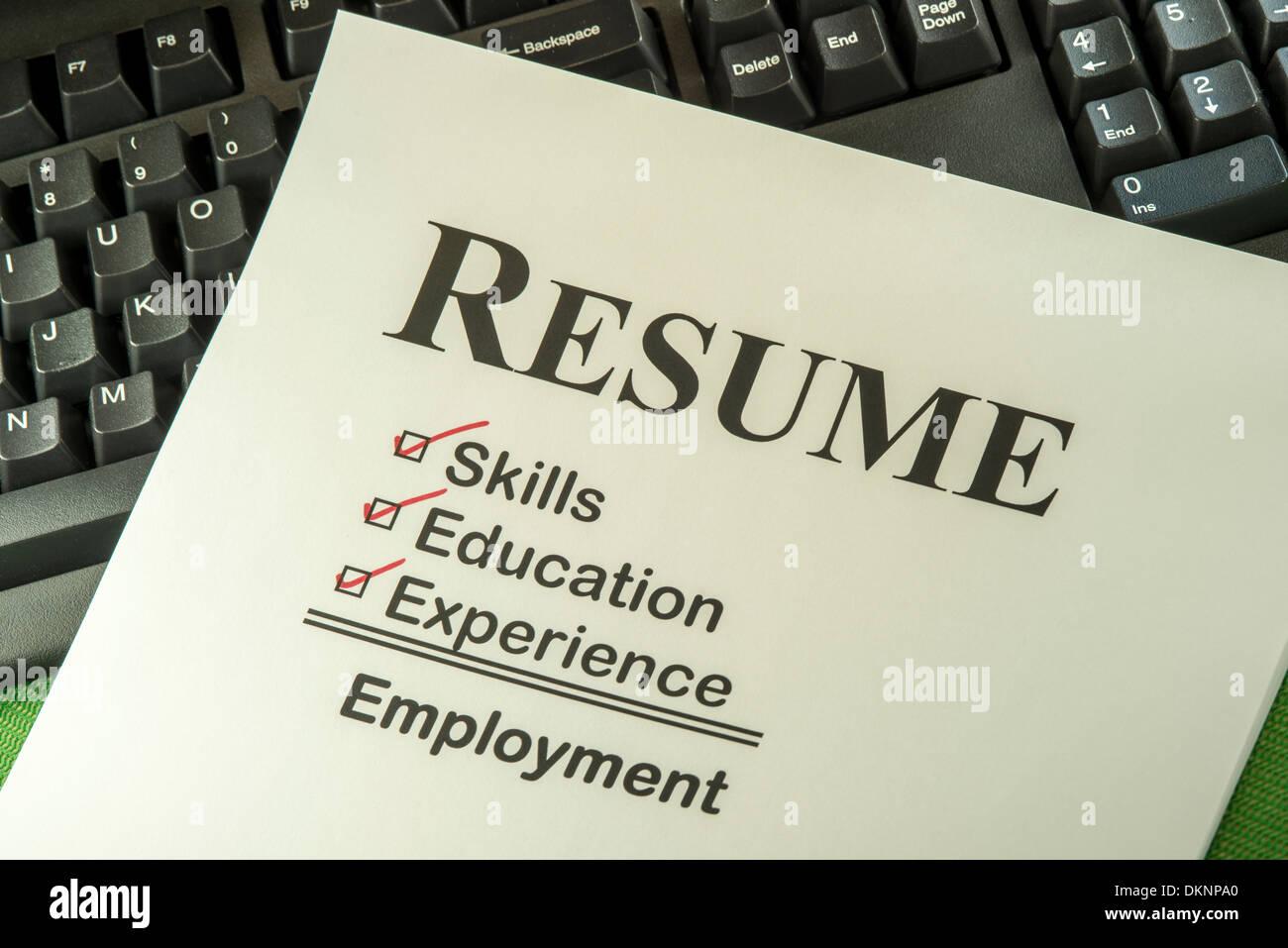 Candidato riprendere richiede competenze, istruzione ed esperienza per trovare un posto di lavoro Foto Stock