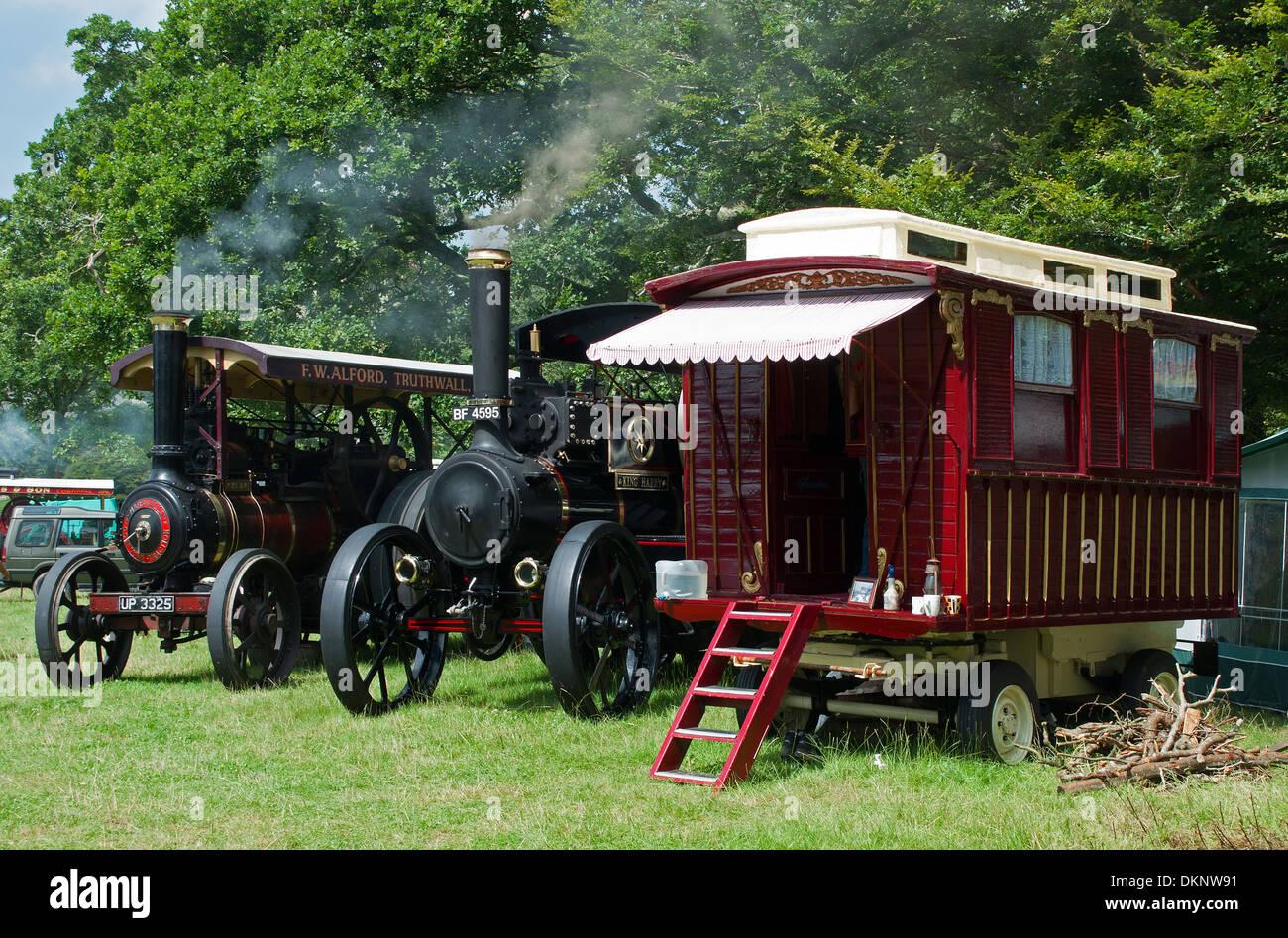 L annuale motore a vapore al rally di casa Boconnoc in Cornwall, Regno Unito Immagini Stock