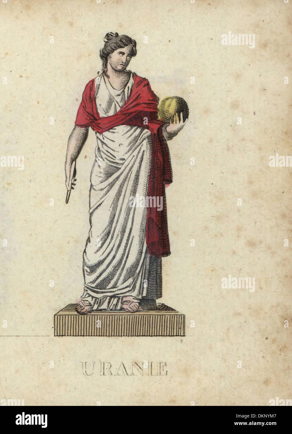 Urania, greca Musa di astronomia, con globo e bussola. Immagini Stock