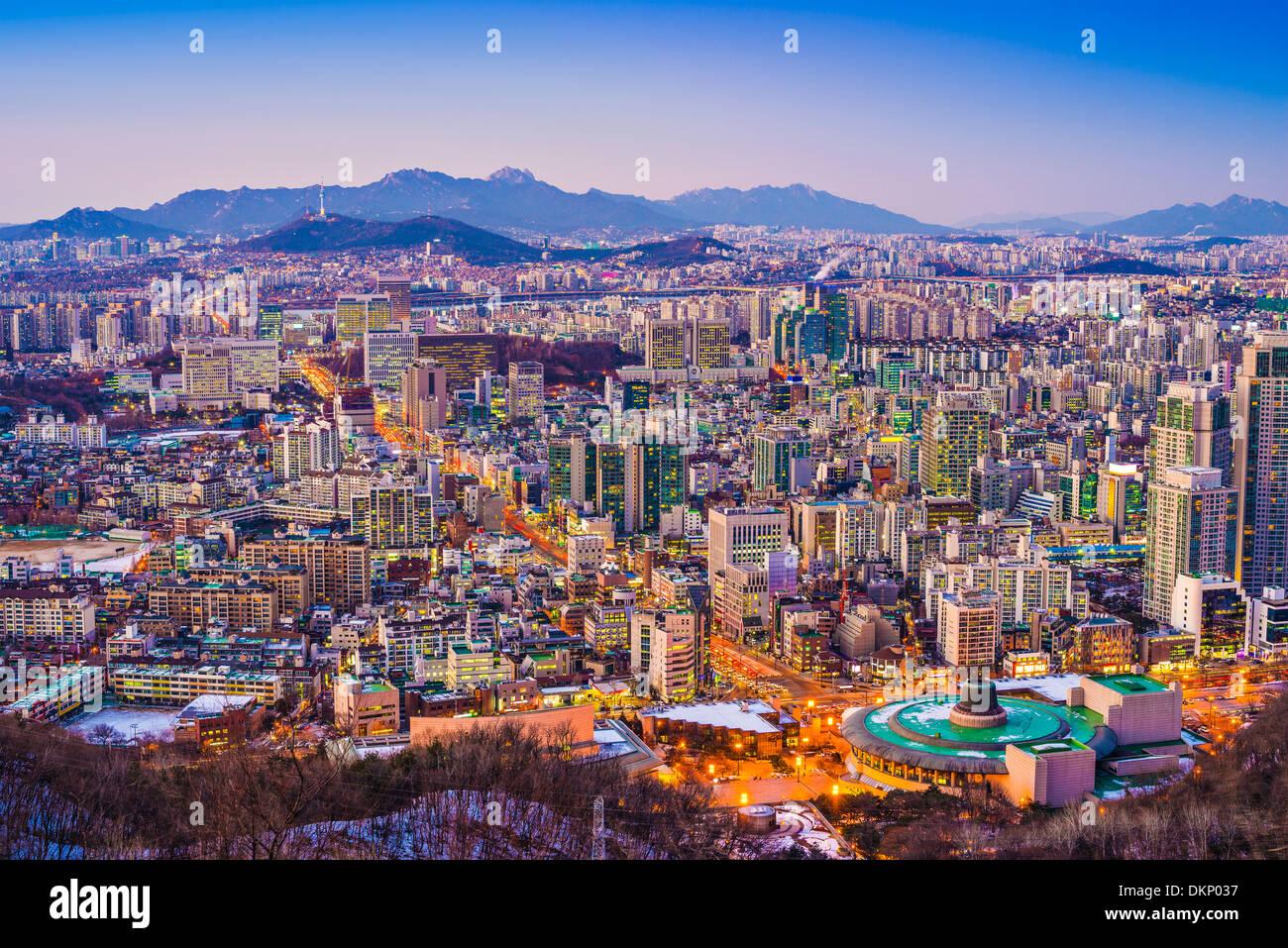 Seoul, Corea del Sud skyline serale. Immagini Stock