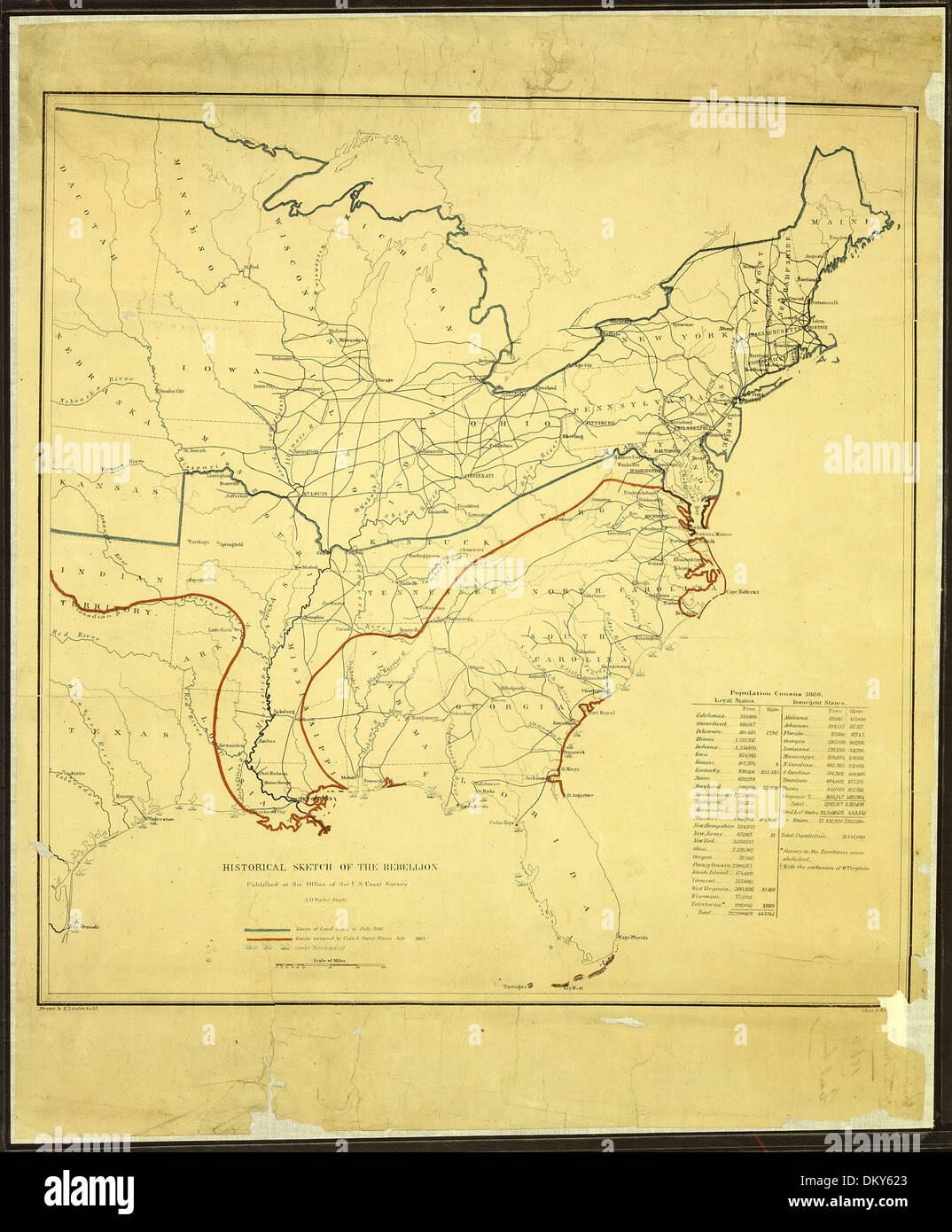 Schizzo storico della ribellione. Pubblicato in ufficio dell'U.S. Sondaggio sulla costa, A. D. Bache, Supdt. (Edizione di) J 305697 Immagini Stock