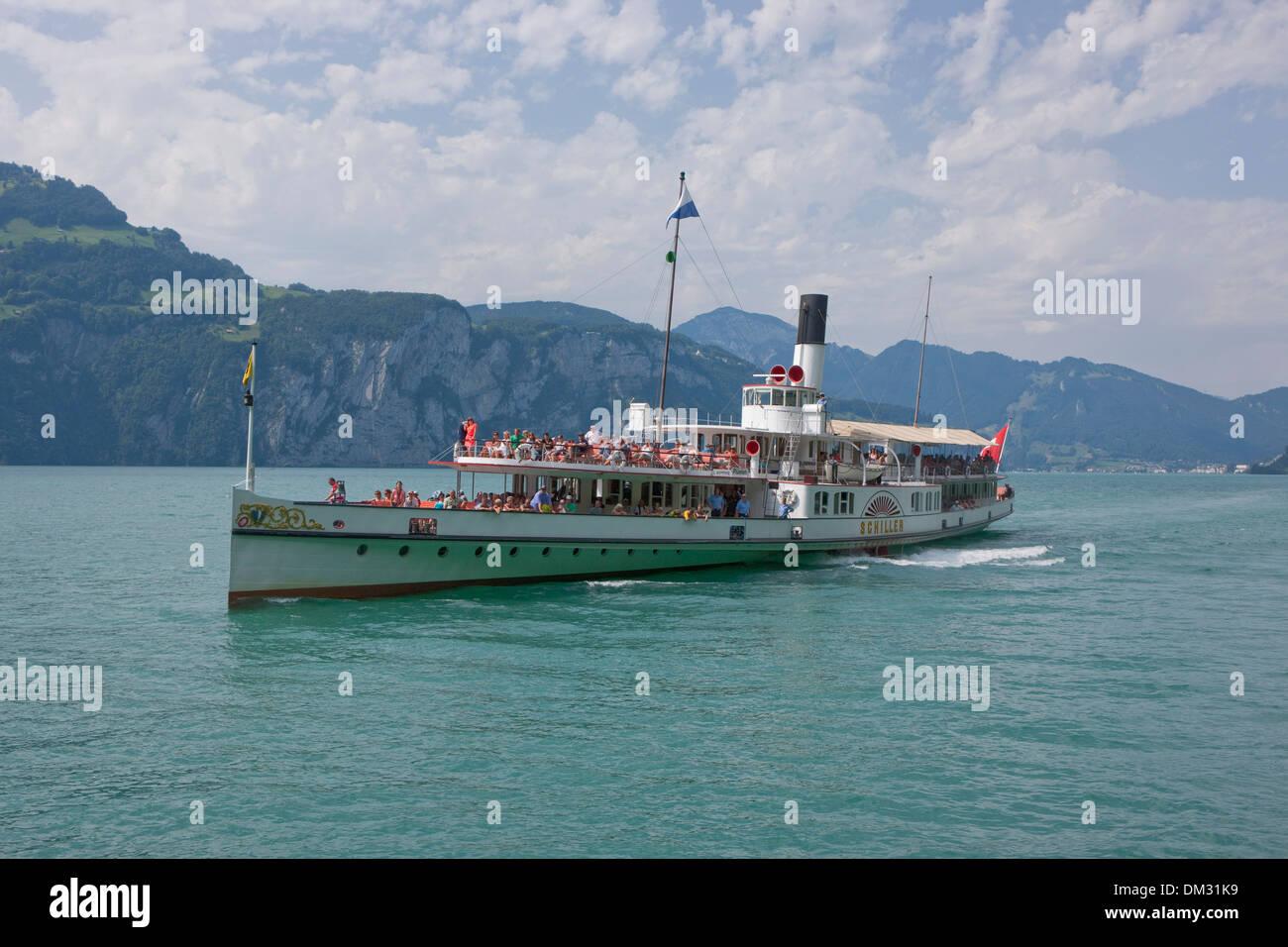La Svizzera, Europa, il lago di Lucerna, Svizzera centrale, Canton, UR, Uri, steamboat, Immagini Stock