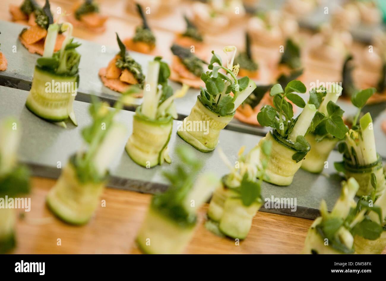 La zucchina avvolto con crostini Immagini Stock
