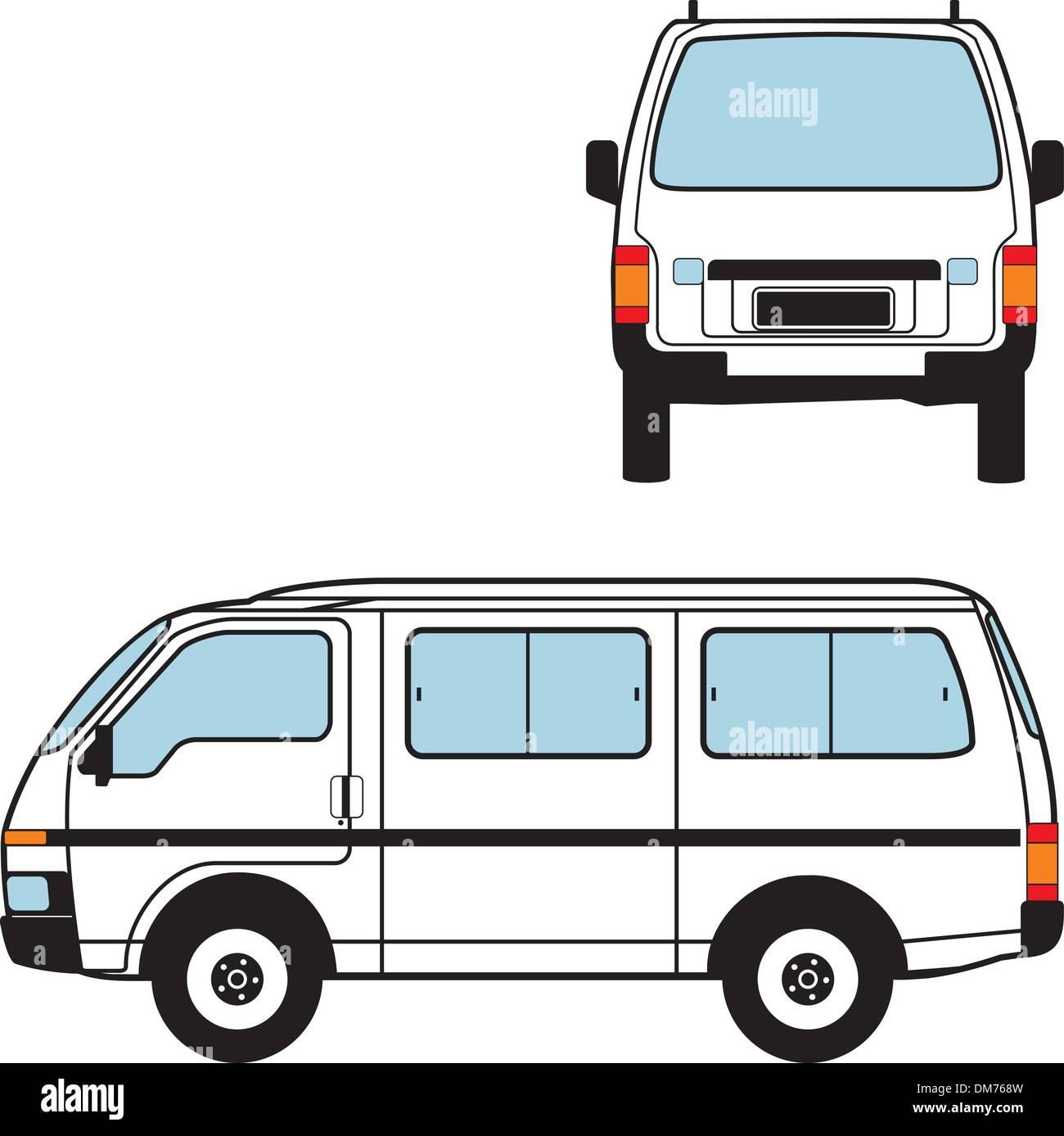 Minivan Auto, forme vettoriali Illustrazione Vettoriale