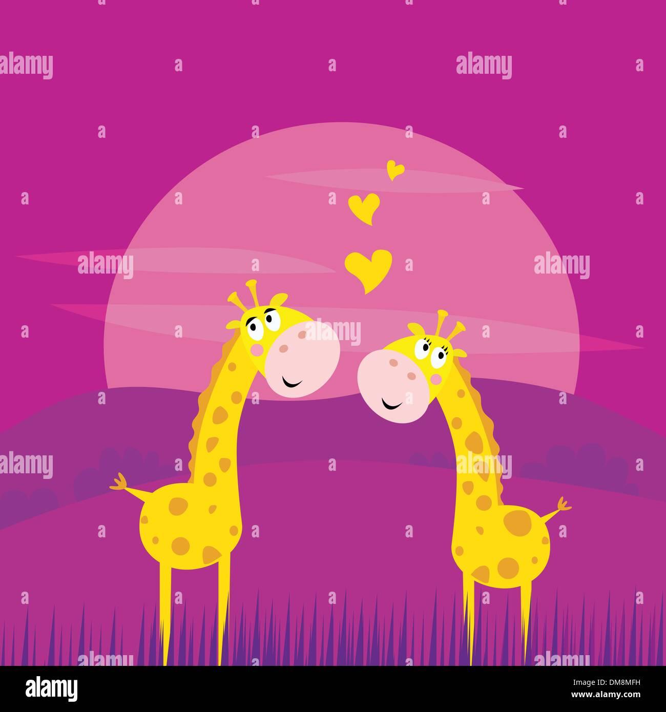 Due africani giallo giraffe in amore Illustrazione Vettoriale