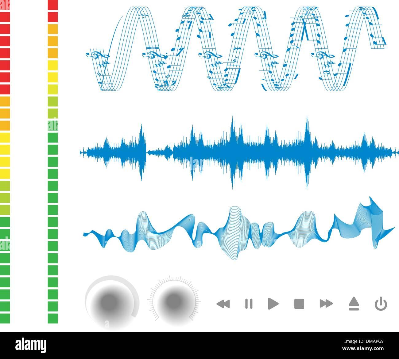 Note, i pulsanti e le onde sonore. Immagini Stock