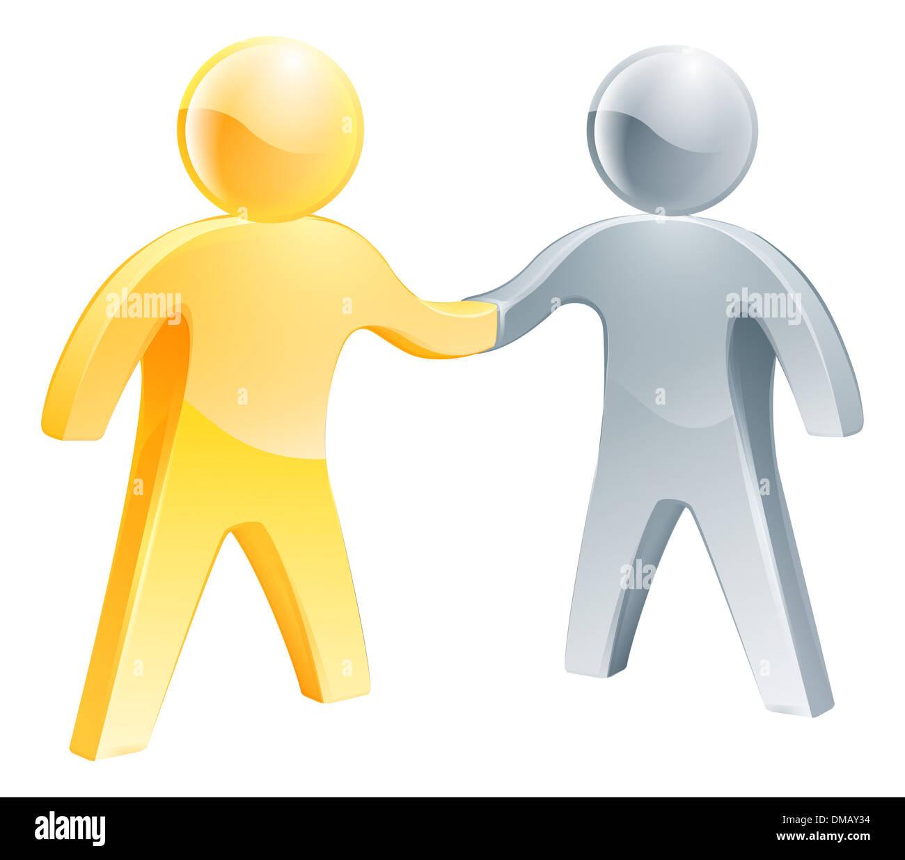 Figure Di Persone Stilizzate.Stretta Di Mano Argento E Oro Persone Il Concetto Di Business Delle