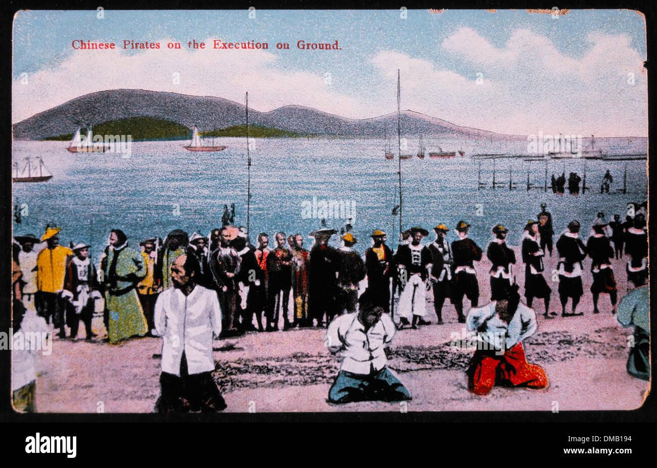 Pirati cinesi sul terreno di esecuzione, Kowloon City, Cina, 1891 Immagini Stock