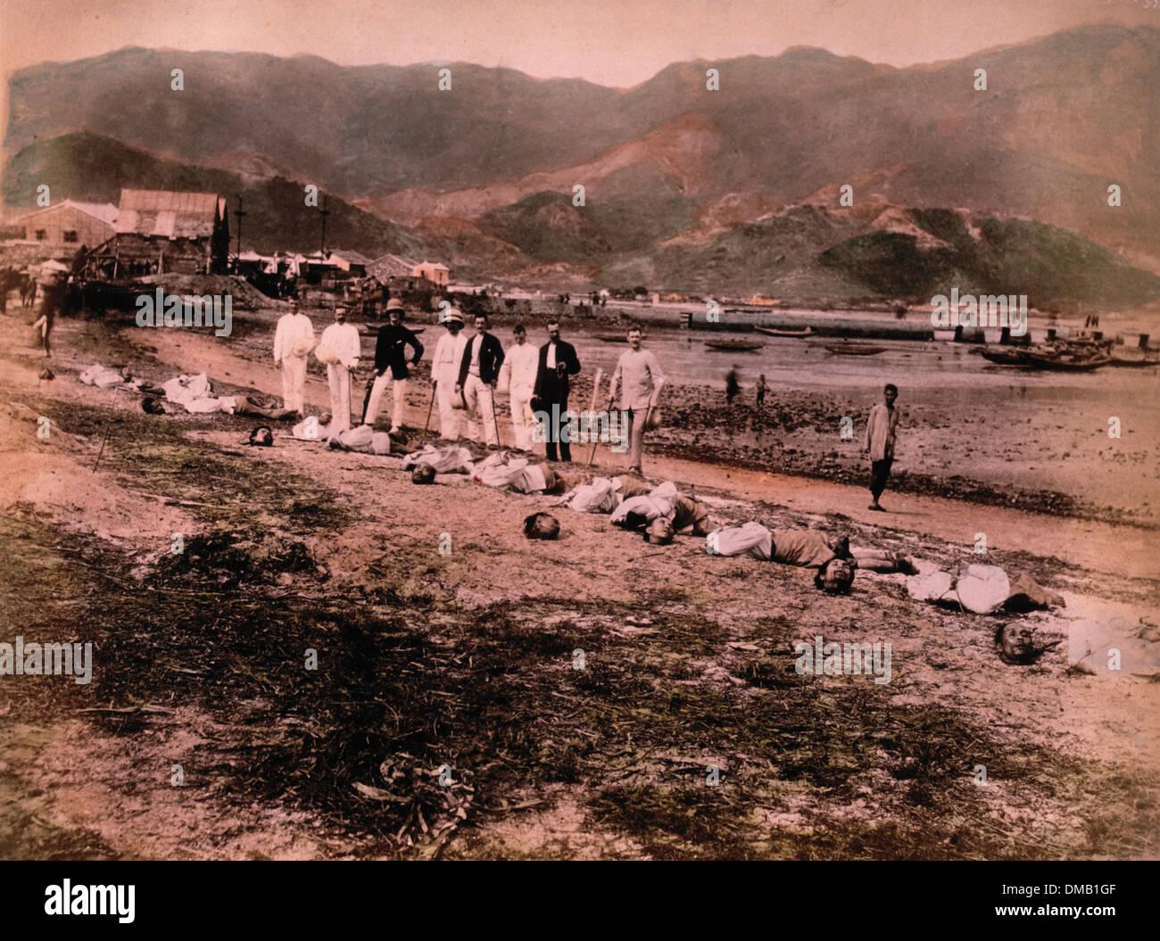Esecuzione di Namoa pirati, Kowloon City, Cina, 11 maggio 1891 Immagini Stock